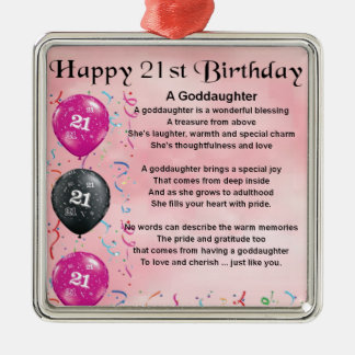 Poema de la ahijada - 21ro diseño del cumpleaños adorno navideño cuadrado de metal