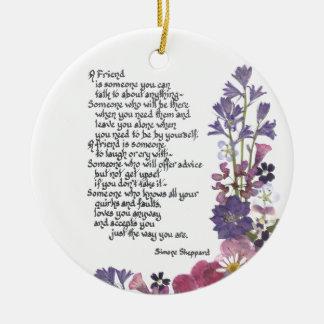 Poema de la amistad adorno navideño redondo de cerámica