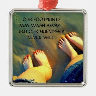 Poema de la amistad del mejor amigo adorno cuadrado plateado