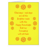 Poema de la amistad y tarjeta de felicitación de l