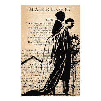Poema de la boda por la silueta del novio de la no  papeleria de diseño