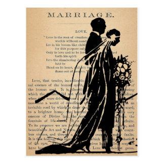 Poema de la boda por la silueta del novio de la no tarjetas postales