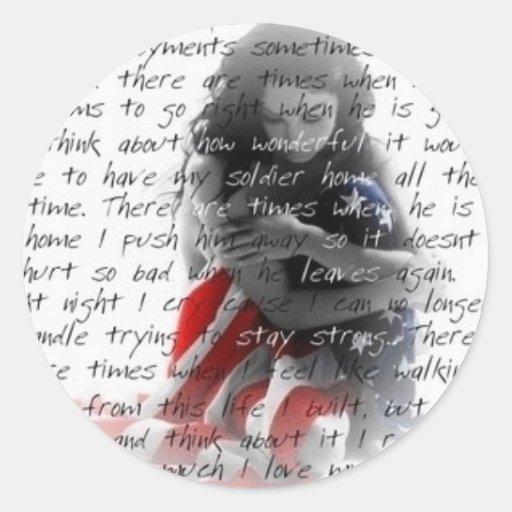 poema de la esposa del ejército pegatina redonda