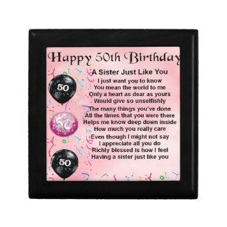 poema de la hermana - 50.o diseño del cumpleaños joyero cuadrado pequeño
