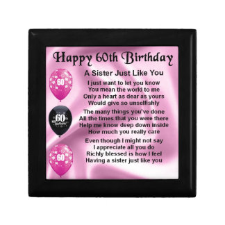 Poema de la hermana - 60.o cumpleaños joyero cuadrado pequeño
