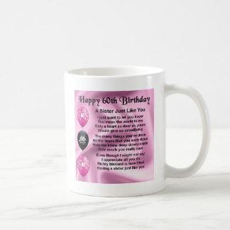 Poema de la hermana - 60.o cumpleaños taza de café
