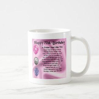 Poema de la hermana - 70.o cumpleaños taza de café