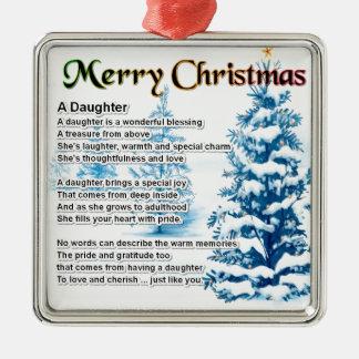 Poema de la hija - diseño del navidad adorno cuadrado plateado