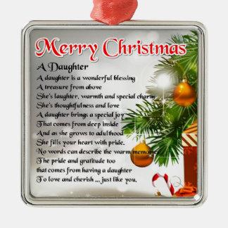 Poema de la hija - imagen del navidad adorno cuadrado plateado