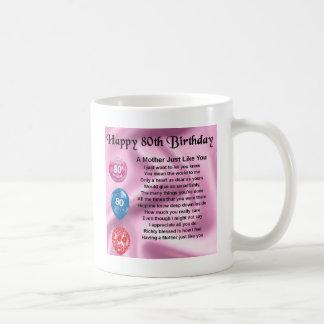 Poema de la madre - 80.o cumpleaños taza de café