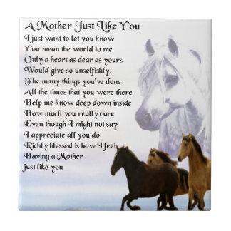 Poema de la madre - diseño de los caballos azulejo cuadrado pequeño