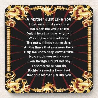 Poema de la madre - diseño negro posavasos de bebida