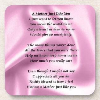 Poema de la madre - seda rosada posavasos de bebidas