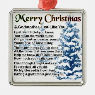 Poema de la madrina - diseño del navidad adorno cuadrado plateado
