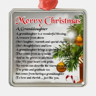 Poema de la nieta - diseño del navidad adorno cuadrado plateado