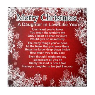 Poema de la nuera - diseño del navidad azulejo cuadrado pequeño