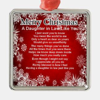 Poema de la nuera - diseño del navidad adorno cuadrado plateado