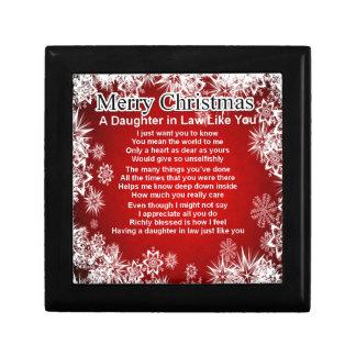 Poema de la nuera - diseño del navidad joyero cuadrado pequeño