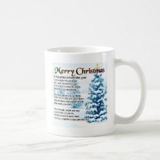 Poema de la nuera - diseño del navidad taza clásica