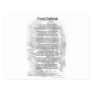 Poema de la pesca de la trucha con el fondo del postales