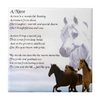 Poema de la sobrina - caballos azulejo cuadrado pequeño