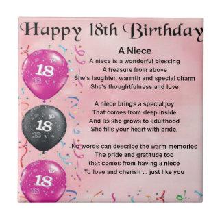 Poema de la sobrina - décimo octavo cumpleaños azulejo cuadrado pequeño