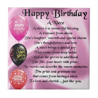 Poema de la sobrina - feliz cumpleaños azulejo cuadrado pequeño