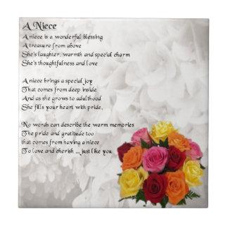 Poema de la sobrina - flores azulejo cuadrado pequeño