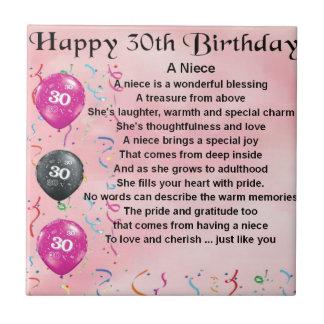 Poema de la sobrina - trigésimo cumpleaños azulejo cuadrado pequeño