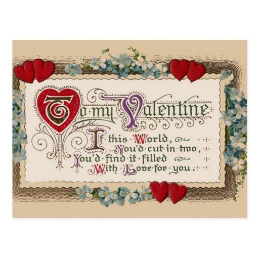 Poema de la tarjeta del día de San Valentín con lo Postales