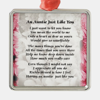 Poema de la tía - diseño floral rosado adorno navideño cuadrado de metal