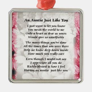 Poema de la tía - diseño floral rosado adorno cuadrado plateado