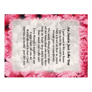 Poema de la tía - diseño floral rosado tarjeta postal