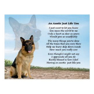 Poema de la tía - perro de pastor alemán tarjeta postal