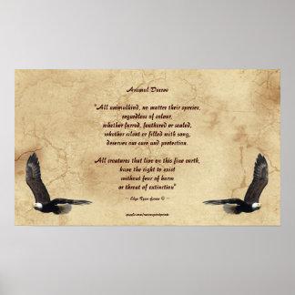 Poema de los derechos de los animales y poster