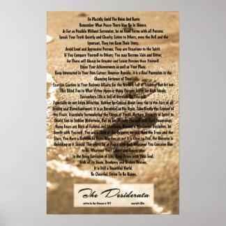 poema de los desiderátums 16x24 con las huellas de póster