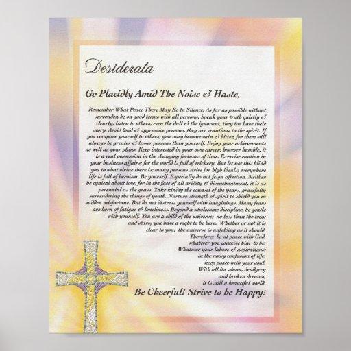Poema de los DESIDERÁTUMS con la cruz del mosaico Impresiones