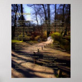 Poema de los desiderátums en la trayectoria del poster