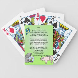 Poema de los mascotas baraja de cartas bicycle
