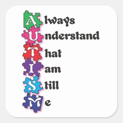 Poema del Acrostic del autismo Calcomanías Cuadradass