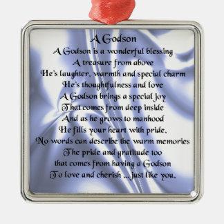 Poema del ahijado - diseño de seda azul adorno navideño cuadrado de metal