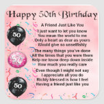 Poema del amigo - 50.o cumpleaños pegatina cuadradas personalizada