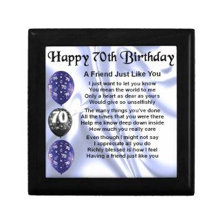 Poema del amigo - 70.o cumpleaños joyero cuadrado pequeño
