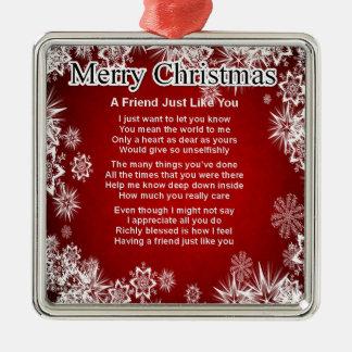 Poema del amigo - diseño del navidad adorno cuadrado plateado