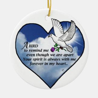 Poema del corazón del pájaro adorno redondo de cerámica