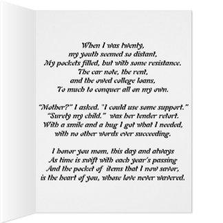 Poema del día de madre tarjeta de felicitación grande