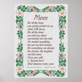 Poema del día de madres con la impresión floral de poster