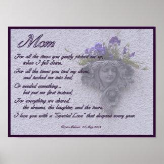 Poema del día de madres con la impresión floral de impresiones