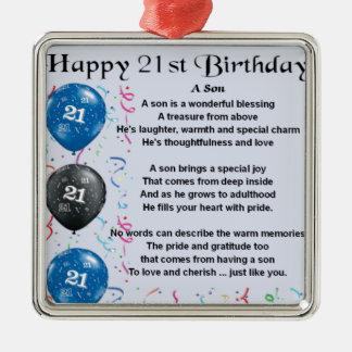 Poema del hijo - 21ro diseño del cumpleaños adorno navideño cuadrado de metal