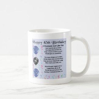 Poema del marido - 40.o cumpleaños taza básica blanca